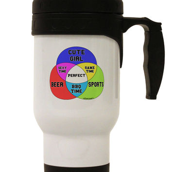 Beer Girl and Sports Diagram Stainless Steel 14oz Travel Mug