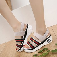 Leather Sandals Stylish Thick Crust Velcro [11884974227]