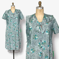 Vintage 50s Plus Size Day Dress / 1950s Unworn Aqua Teal Floral Clover Print Dress XL Plus Sized