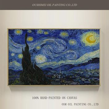 Professional Artist Handmade High Quality Reproduction Vincent Van Gogh Oil Painting The Starry Night Oil Painting On Canvas