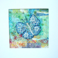 Butterfly card - beaded blue butterfly - fabric art card - patchwork card  - Mothers day card - wedding gift card