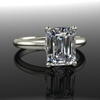 Forever Brilliant Moissanite Engagement Ring Emerald Cut 2.60 CTW