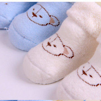 Newborn Infant Toddlers Baby Winter Warm Thicker Cotton Bear Anti Slip Sock HU