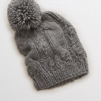 Aerie Pom-tastic Cable Beanie, Dark Heather