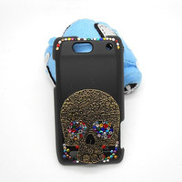 Handmade hard case for Motorola Droid 4: Bling skull