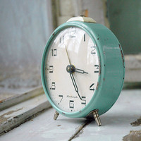 Vintage Clock,  Alarm Clock, Mint green, Jantar Soviet.  Home Decor. Desk Clock. Office Decor