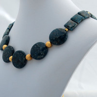 Teal and Gold Statement Necklace  - Free Gift Wrap