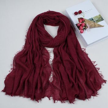 Hot sale Pure color bubble plain scarf/scarves fringes women soft solid hijabs popular muffler shawls pashmina muslim wrap 4CX01