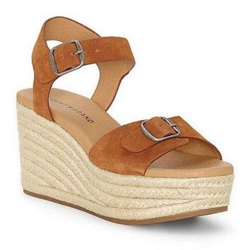 ICIKAB3 Lucky Brand Naveah Peanut Oiled Suede Wedge Sandal