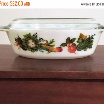 "PYREX SALE: Vintage 1970s JAJ Pyrex 2.5 Pint Oval Casserole Dish and Lid Featuring Pattern "" Market Garden / Tuscany"" / made in England"