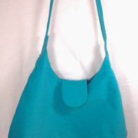 Teal Microsuede Handbag Tote Purse