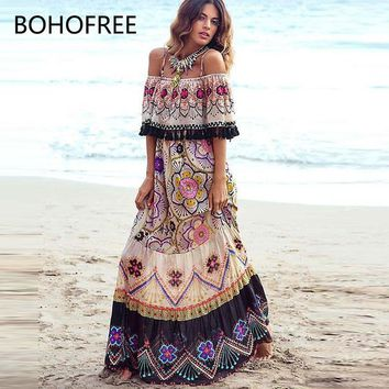 BOHOFREE Sexy Off Shoulder Floral Beach Dress Ethnic Inspired Gpysy Style Maxi Hippie Vestidos Femme Bohemian Vestidos Mujer