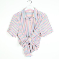 Vintage 1980s Shirt White Rainbow Striped Pastel Seersucker Stripe Blouse Short Sleeve Collared Shirt 80s Preppy Texture Button Down L Large