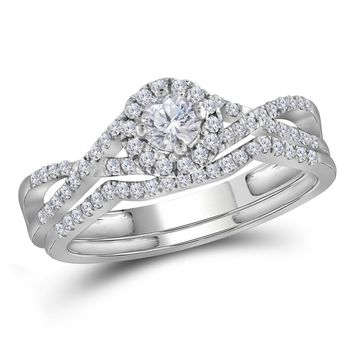 10kt White Gold Womens Round Diamond Twist Bridal Wedding Engagement Ring Band Set 1/2 Cttw