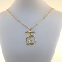 Necklace Antique Gold Branch and Bird With Light Blue Pearl