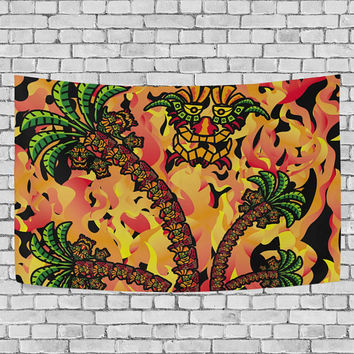 Skull Fire Tropical Palm Tree Psychedelic Tapestry Wall Hanging Boho Hippie Trippy Wall Decor Art