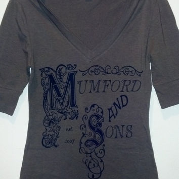 Mumford and Sons Inspired Screen Printed Small Olive/Army Green Shirt, Vneck 3/4 Sleeves, Valentine's Day Sale 15% Off