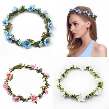 Bridemaid Flower Bridal Wreath Artificial Flower Head Wreath For Hair Floral Bridal Hair Accessory Wedding Flower Headpiece