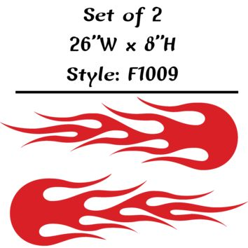 "Vehicle Tribal Flames Vinyl Decal Sticker Car Truck Boat Graphics Racing - STYLE F1009 - Set of (2) 26""W X 8""H"