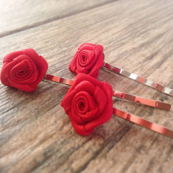 Bridal Hair Pins, Flower Hair Pins, Set of Hair pins, Wedding Bobby Pins, Red Rose Hair Pins, Bridal Hair Accessories, Flower Bobby pins