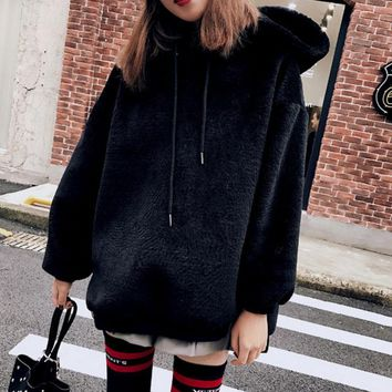 Fashion Long Sleeve Hooded Thick Medium-long Side Zipper Sweater Black