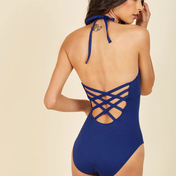Splash It Out One-Piece Swimsuit in Cobalt