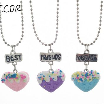 "3PCS/Set Friendship ""Best Friends Forever"" Heart Food Stereo Imitation BFF Necklace For Children Jewelry CCOR"