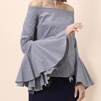 Blue Casual Off the Shoulder Sleeves Top