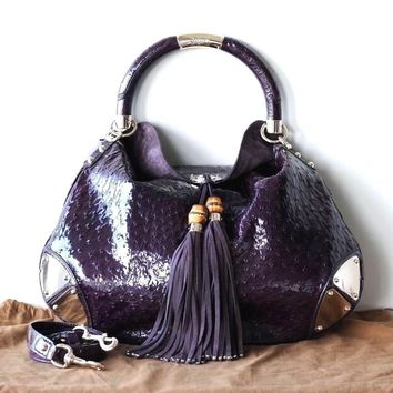 GUCCI INDY HANDBAG HOBO BAG SHINY PURPLE OSTRICH LEATHER LIGHT GOLD NEW NWT $11K