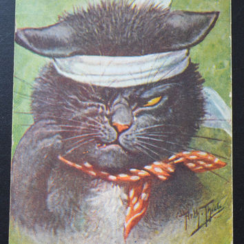 Arthur Thiele Postcard, Thiele Cat,Cat Postcard, Artist Signed Postcard, Humanized Cat Postcard