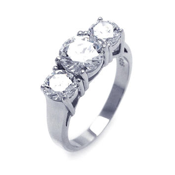 925 Sterling Silver Ladies Jewelry Past Present Future Round Cubic Zirconia Ring: Size: 5