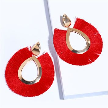 GEREIT European Brand Ethnic Colorful Tassel Earrings Big Water Drop Dangle Diffuse Statement Earrings For Women Indian Jewelry