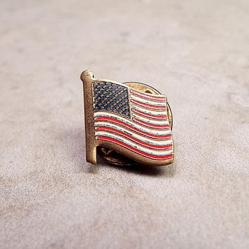 US Flag Pin, Vintage Pin, Vintage Tack Pin, Vintage Flag Pin, Red White and Blue, Stars and Stripes, Patriotic Jewelry, 4th of July