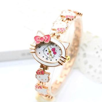 New Hello Kitty Watches Fashion Ladies Quart Watch Vintage Kids Cartoon Wristwatches Girl Brand Quartz women Bracelet watches