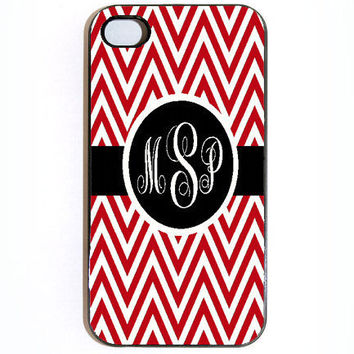 iPhone 4 4s Red chevrom Monogram Hard Snap on by KustomCases