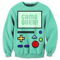 Adventure Time BMO Beemo Game Over All Over Print Crew Neck Pullover Sweater | DOTOLY