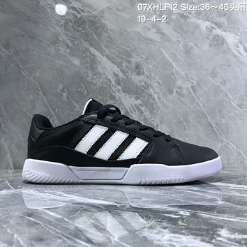 hcxx A1157 Adidas Vrx Low Fashion 2019 Classic Magic Sticking Antique Board Shoes Black White