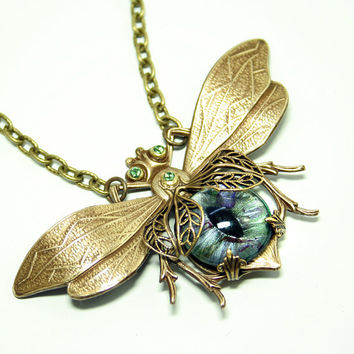 Steampunk Necklace Eye Bee lieve In You Large Bee Necklace Evil Eye Jewelry Couture Jewelry Statement Necklace