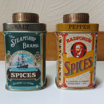 Vintage Tin Salt and Pepper Shakers - Advertising