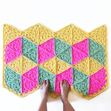 3D Cube Design Pattern Retro Rug Yellow Pink Green Chevron Edge