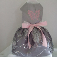 Dog dress grey taffeta with pink embroidered butterfly