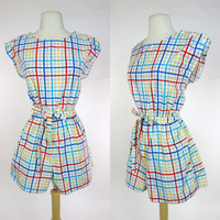 1980s striped romper, primary color grid print, cotton elastic waist button shoulder with waist tie, Medium to large