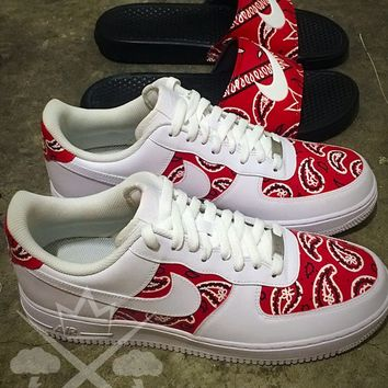 Nike Air Force One 1 Low Custom Red Bandana Men s White Sneaker 5517ca74842c