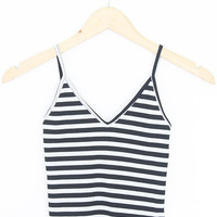 V-Neck Stripe Crop Tank