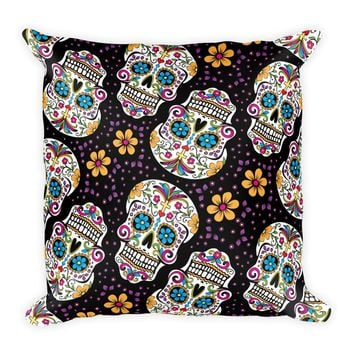 Sugar Skull Day of the Dead BLACK Square Pillow