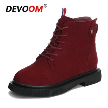 New 2018 Fashion Fur Ladies Boots Suede Wedge Heel Woman Boots Genuine leather Red Martin Boots Lace up Winter Women Boots Shoe