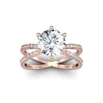 Modern X Band 2.25 Carat Solitaire Engagement Ring With 48 Side Diamonds in 14K Rose Gold (H-I, I1-I   Overstock.com Shopping - The Best Deals on Engagement Rings