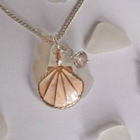 Sea Glass Necklace with Peach Scallop Shell