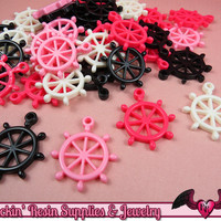 BOAT WHEEL Nautical Charms / Flatback Decoden Resin Kawaii Cabochons (7 pieces)