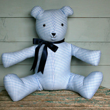 Handmade teddy bear Blue gingham check fabric bears Shower gift Birthday Christmas present Soft toy Teddybear Nursery decor Interior design